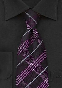 Modern Plaid Tie in Fuschia and Black
