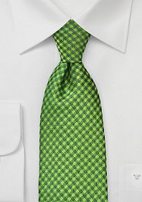 Check Patterned Tie in Bright Green