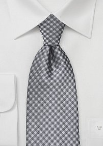 Gingham XL Sized Tie in Silvers