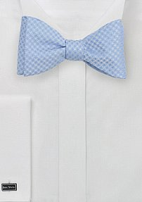 Soft Blue Bow Tie with Houndstooth Pattern