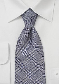Trendy Checkered Tie in Navy & Taupe