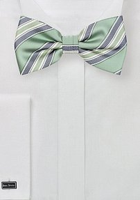 Mens Bow Tie in Sage and Silver
