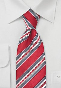 Bright Red and Grey Striped Tie