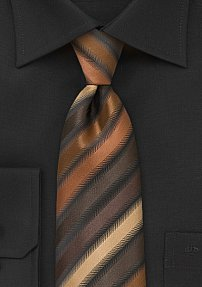Striped Tie in Espresso, Copper, and Latte
