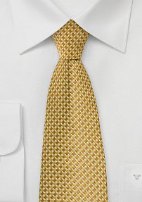 Squared Patterned Tie in Tonal Golds