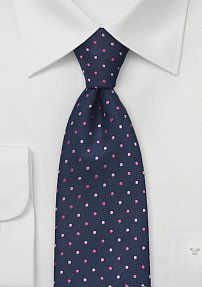 Polka Dot Tie in Navy and Pink