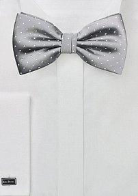 Polka Dot Bowtie in Silver and White
