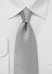 Extra Long Silver and White Polka Dot Tie