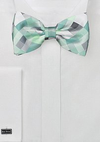 Mint and Silver Check Design Bow Tie