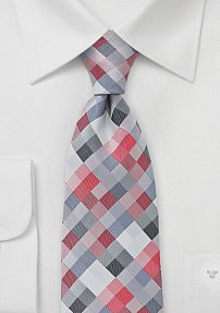 Modern Kids Tie in Red with Silver Checks
