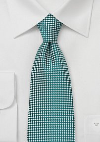 Graphic Patterned Tie in Green and Silver