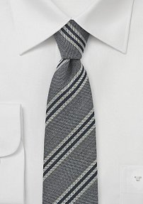 Designer Skinny Tie by BlackBird in Grays and Black