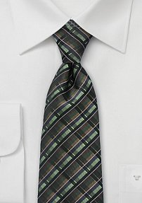 Graphic Tie in Greens and Browns