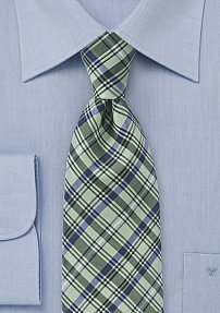 Mens Plaid Tie in Greens and Blues