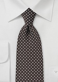Dark Brown Tie with Silver Diamonds