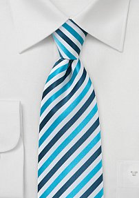 Blue and White Boys Size Necktie with Narrow Stripes, Wrinkle and Stain Resistant