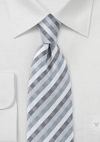 Wave Patterned Tie in Silvers and Greys