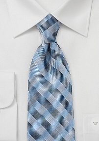 Men's Blue and Silver Plaid Tie