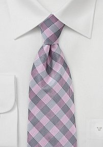 Designer Plaid Tie in Pink and Silver