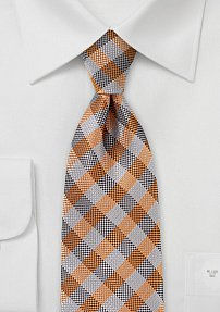 Silver and Orange Gingham Tie