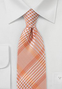 Peach Colored Tie with Check Pattern