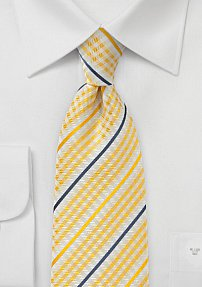 Summer Necktie with Canary Yellow Checked Pattern