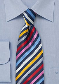Bright Striped Necktie in Navy, Pink, Red, and Yellow