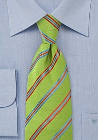 Pea Green Tie with Narrow Stripes