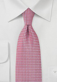 Sharp Tie in Cherry with Grid-Like Style