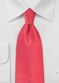 Polka Dot Textured XL Length Tie in Coral