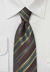 Striped Tie in Espresso, Gold, and Blue