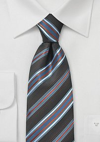 Striped Necktie in Brown and Blue