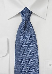 Riviera Blue Tie with Herringbone