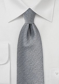 Silver and Pewter Gray Tie with Herringone