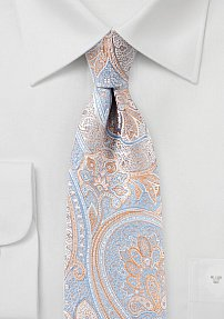 Pastel Colored Paisley Tie in Blue and Orange