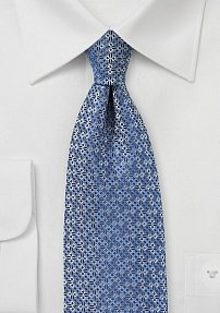 Geometric Check Tie in Grayed Blue