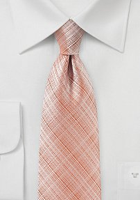 Textured Linen Tie in Salmon Orange