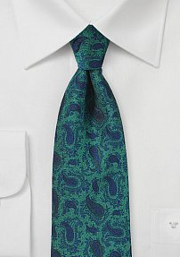 Designer Paisley Tie in Glass Green and Blue