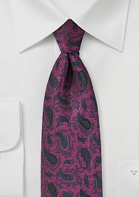 Boysenberry and Gray Paisley Tie