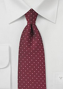 Cherry Red and White Micro Dot Tie