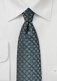 Diamond Pattern Tie in Steel Gray