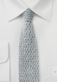Textured Knit Cashmere Tie in Gray