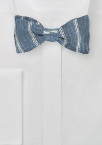 Self Tied Linen Bow Tie in Denim Blue