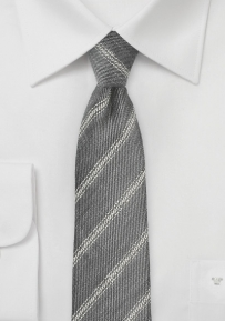 Trendy Skinny Linen Tie in Stone Gray and Cream