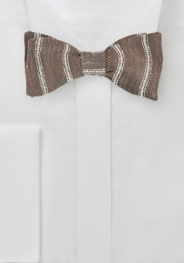 Linen Bow Tie in Walnut Brown and Tan