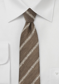 Walnut and Tan Skinny Linen Necktie