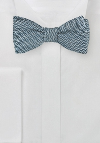 Self Tied Blue Tie with Herringbone