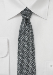Trendy Skinny Herringbone Patterned Tie in Smoke Gray