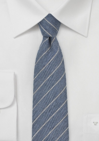 Denim Hued Wool Tie with Gray Pencil Stripe