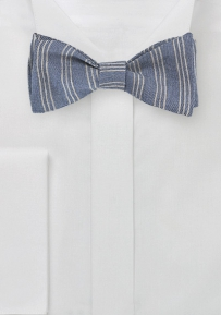 Wool Bow Tie with Stripes in Light Blue